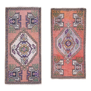 """Set of 2 Hand Knotted Oriental Turkish Small Area Rugs 1'7"""" X 3' For Sale"""