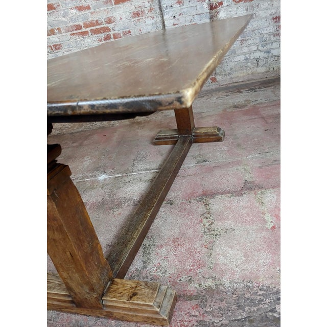 Brown 19th Century Farmhouse Trestle Dining Oak Table For Sale - Image 8 of 10