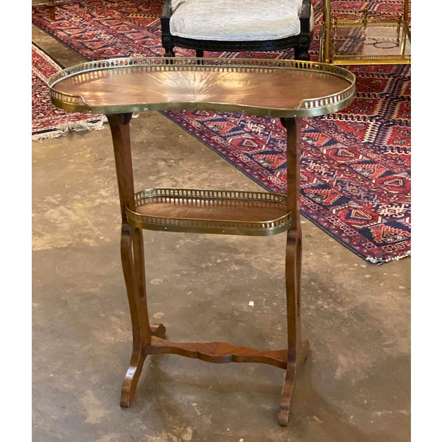 Mahogany Kidney Shaped Tables With Reticulated Brass Edge - a Pair For Sale - Image 4 of 10