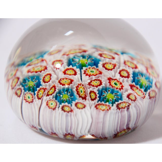 Paolo Venini Italian Vetreria Murano Venini Art Glass Millefiori Collectable Paperweight For Sale - Image 4 of 10