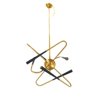 Chandelier in the MI D Century Style in Brass, New Production 2019 For Sale