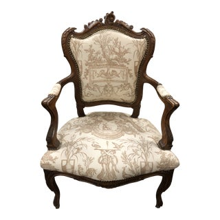 French Toile Side Chair For Sale