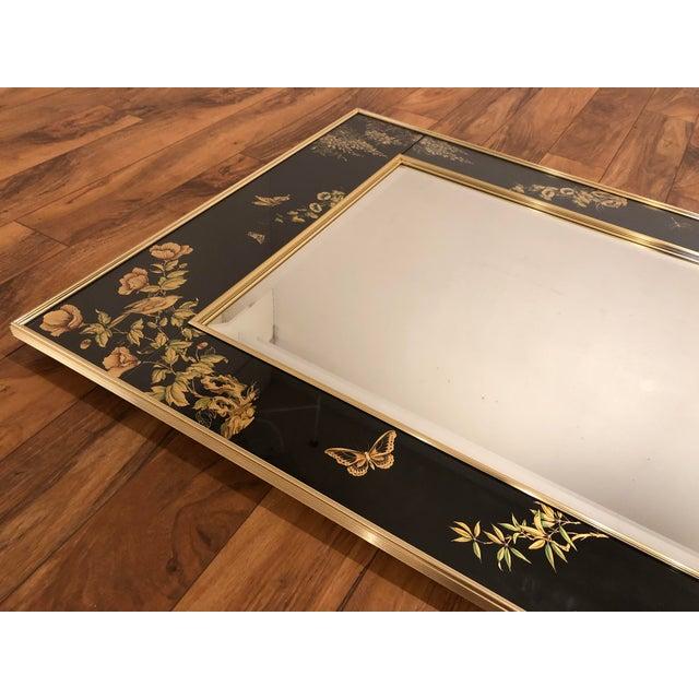 1980s La Barge Églomisé Hand Painted Beveled Mirror For Sale - Image 5 of 11