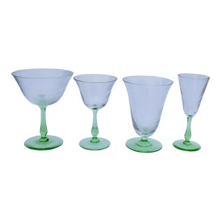 Venetian Glassware Serving Set with 4 Types of Glass - 38 Pieces For Sale