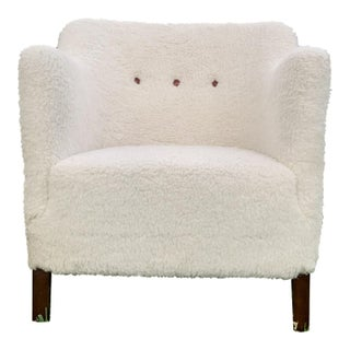 1940s Vintage Frits Henningsen Style Danish Lamb Wool Lounge Chair For Sale