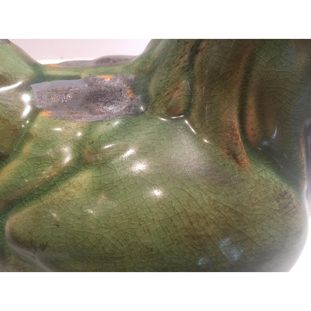 Green Ceramic Hen Figurine For Sale - Image 4 of 5