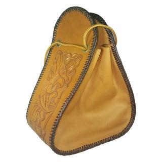 1960s Vintage Hand Tooled Leather Stirrup Bag For Sale