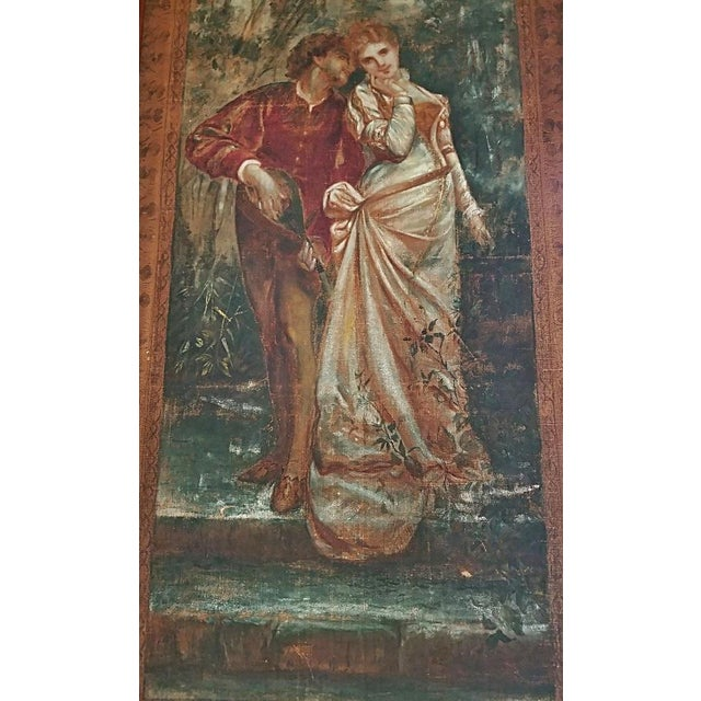 Metal Pair of Monumental Framed Italian 18c Painted Tapestries For Sale - Image 7 of 13