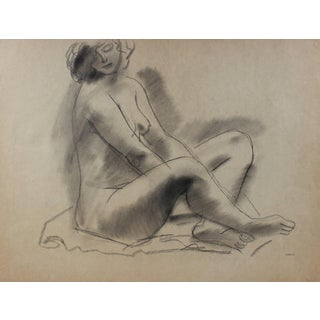 Cross-Legged Female Nude Early-Mid Century Charcoal Drawing For Sale