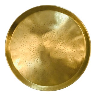 Large Heavy Embossed Brass Tray For Sale