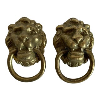 1920s Victorian Cast Brass Lion Head Single Hole Drop Pulls - a Pair For Sale