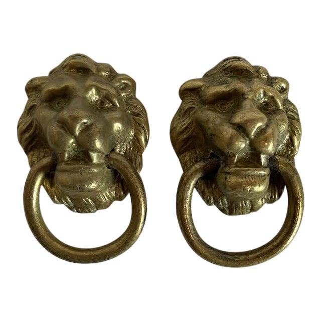 1920s Victorian Cast Brass Lion Head Single Hole Drop Pulls - a Pair For Sale