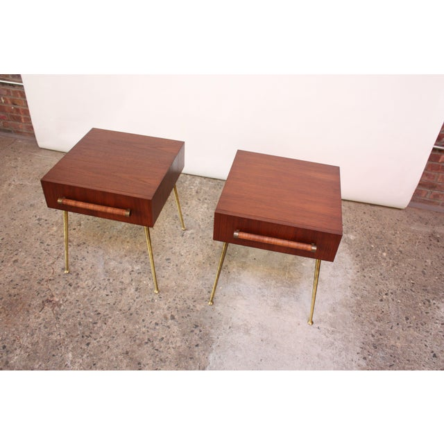 Widdicomb Pair of T.H. Robsjohn-Gibbings Walnut and Brass Nightstands For Sale - Image 4 of 11