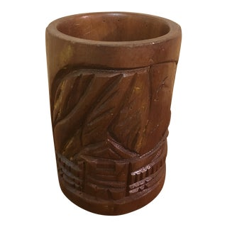 Hand Carved Wooden Mug