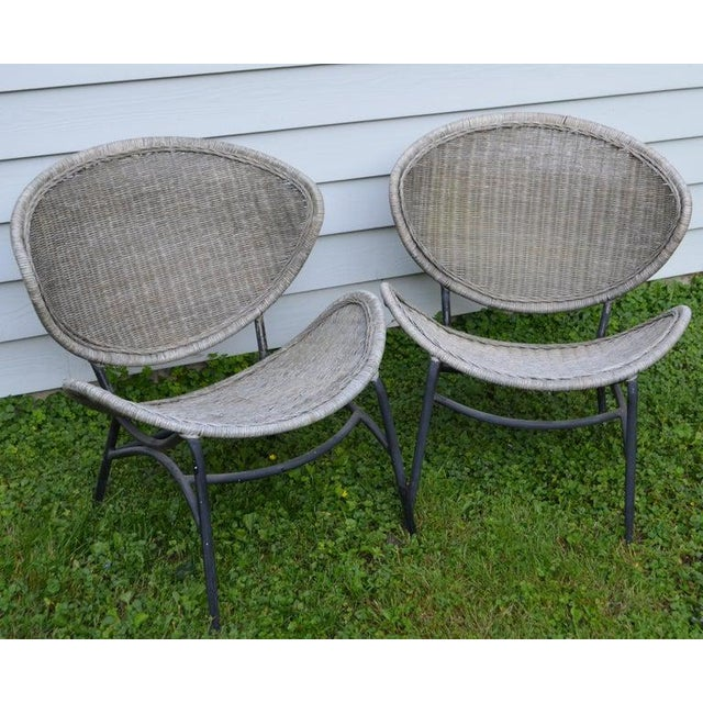 Mid-Century Modern Salterini Wicker Clamshell Chairs, Pair, With Steel Frame for Home, Patio, Porch For Sale - Image 3 of 13