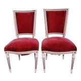 Image of Antique French Louis XVI Upholstered Side Chairs-A Pair For Sale