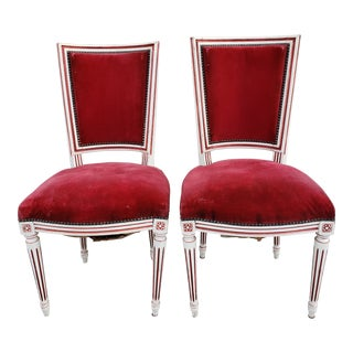 Antique French Louis XVI Upholstered Side Chairs-A Pair For Sale