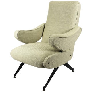 1960´s Reclinable Armchair by Oscar Gigante, steel, brass, beige fabric - Italy For Sale