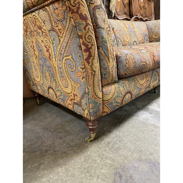 1990s Vintage Italian Etro Paisley Tapestry Fabric Sofa For Sale In New York - Image 6 of 12