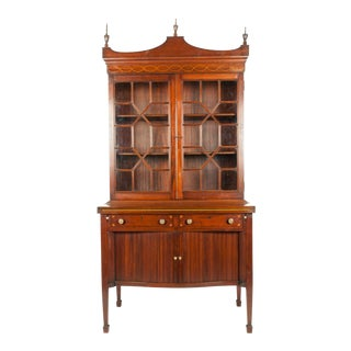 Charak Hand-Carved Mahogany Wood Two Piece Display Cabinet For Sale