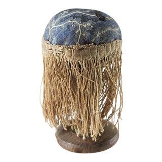 Tiny Antique Make Do Silk & Treenware Wood Pincushion For Sale