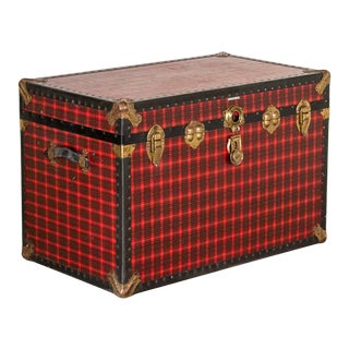 Vintage Red Plaid Travel Trunk For Sale