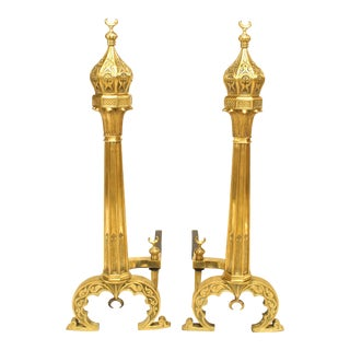 Middle Eastern Moorish Brass Andirons - a Pair For Sale