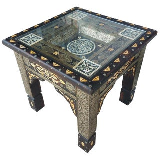Moroccan Metal Inlay and Camel Bone Side Table For Sale