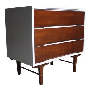Gorgeous and Versatile Two Tone Mid Century Small Dresser by Stanley For Sale