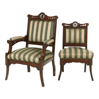 Early 20th Century Victorian Carved Walnut Chairs - Set of 2 For Sale