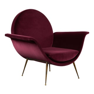 Aubergine Velvet Round Back Sculptural Italian Easy Chair For Sale