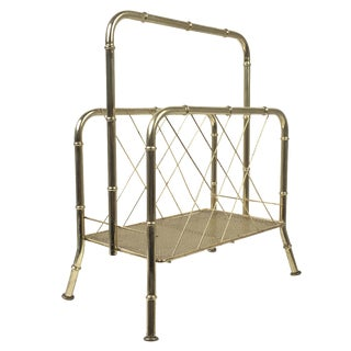 Hollywood Regency Faux Bamboo Brass Magazine Rack For Sale