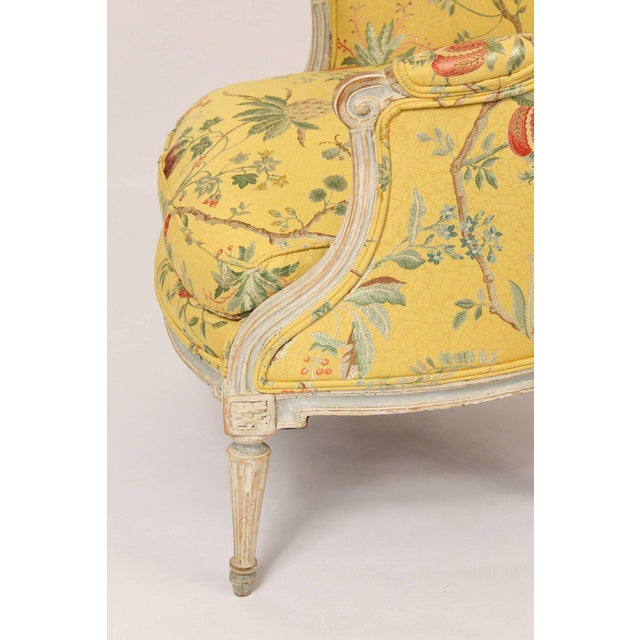 Antique Louis XVI Style Painted Bergere - Image 4 of 11