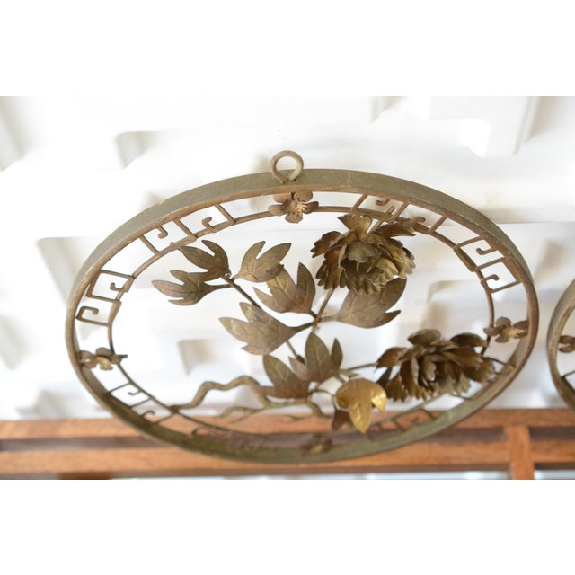 Asian 1950s Mid-Century Modern Brass 3d Floral Wall Hangings - a Pair For Sale - Image 3 of 8