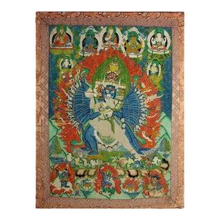 Framed Antique Tibetan Buddhist Thangka For Sale