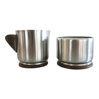 Vintage Stainless Steel Bauhaus Style Sugar Bowl & Creamer Set - a Pair For Sale