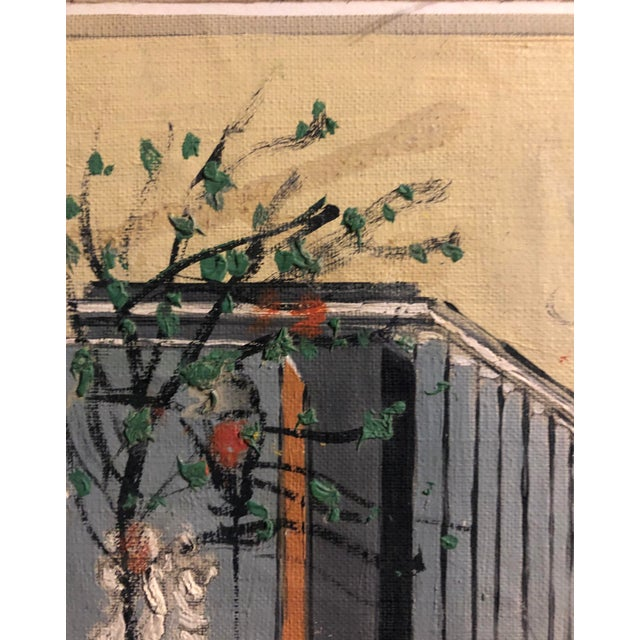 Yellow Mid-Century Oil on Canvas of a Modern Classical Courtyard With Sculpture 1960s For Sale - Image 8 of 9