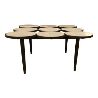 Curry & Co. Industrial Modern Concrete Disc and Metal Cocktail Table For Sale