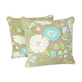 "Image of Designer Linen/Velvet Floral Feather/Down Pillows 24"" Square - Pair For Sale"
