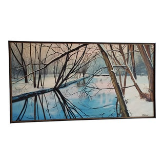 Mid-Century Winter Landscape Painting For Sale