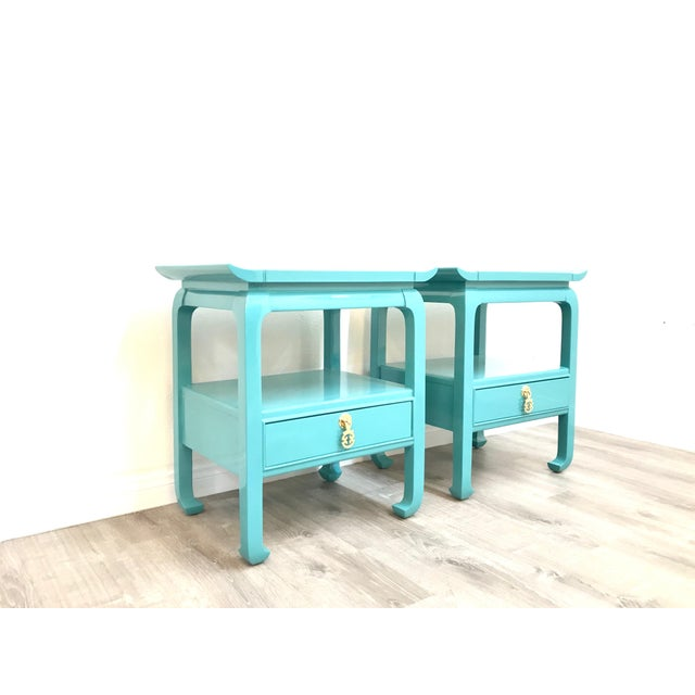 1970s Kent Coffey Turquoise Lacquered End Tables - A Pair For Sale - Image 5 of 12