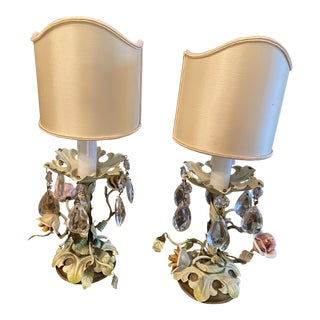 Italian Tole and Crystal Table Lamps - a Pair For Sale