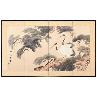 Japanese Four-Panel Longevity Screen of Pine Cranes For Sale