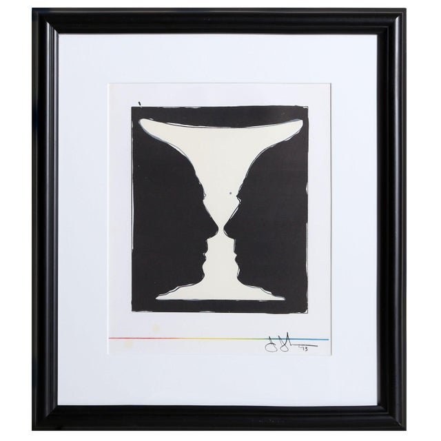 A lithograph by American artist Jasper Johns (1930 - ), titled Cup 2 Picasso, circa 1973. This striking lithograph creates...