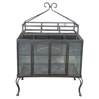 Victorian Style Wrought Iron & Glass Freestanding Terrarium Plant Display For Sale