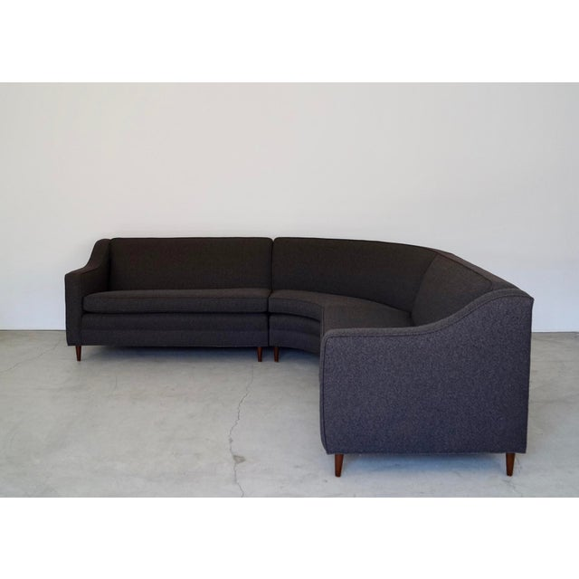 1960s Mid-Century Modern Reupholstered 3-Piece Sectional Sofa For Sale - Image 5 of 13