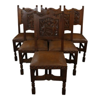 French Renaissance Winged Lions Dining Chairs - Set of 6] For Sale
