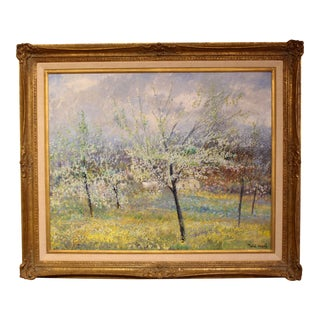 """""""Blossoming Trees in Yellow Field"""" Oil Painting For Sale"""