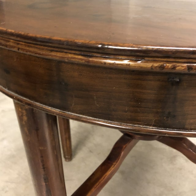 Mid 20th Century Antique Round Wood Occasional Table For Sale - Image 5 of 6