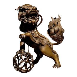 A Gilt Bronze Foo Dog Form Censer For Sale
